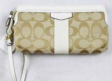 AUTH  Coach Wallet Wristlet Purse Clutch Black White Double Zipper F51155