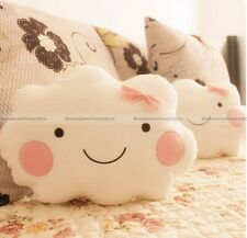 Cute Smile Clouds Plush Pillow Cushion Shy Girl Pink Bow Sweet Couch Pillow