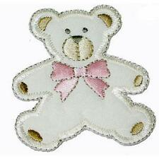 Cream Teddy with Pink Bow Iron On Applique