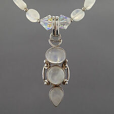 AURORA BOREALIS CRYSTAL BEAD WHITE QUARTZ STONE PENDANT NECKLACE STERLING SILVER