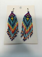 Native American Navajo Beaded Dangle Earrings Lucille Romone Jewelry Red Nice #4