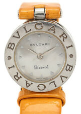 BVLGARI Orange Leather Stainless Steel MOP Face B Zero1 Wrist Watch WP3483 MHL