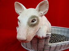 Bull Terrier Puppy Dog Figurine Large Ceramic Bed With Pillow