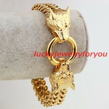 Punk Men's Yellow Gold Stainless Steel Wolf Heads Square Figaro Chain Bracelet