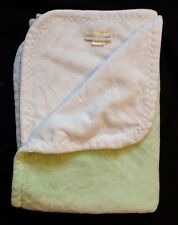 Pottery Barn Kids Throw Reversible Micro Fleece Green White Blanket 40 x 30