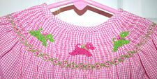 3T Amanda Remembered Pink Green Scotty Dogs Puppies Smocked Bishop Dress Easter