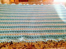 New Beautiful Handmade Crocheted Blue And White 100% Acrylic Baby Afghan
