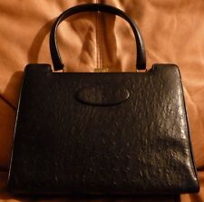 BLACK Ostrich Large Handbag Purse Genuine Original RARE Antique Vintage EUC $$$