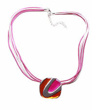 NEW FUNKY MODERN STYLE DARK PINK NECKLACE,SQUARE PENDANT & MULTI ROW CORD(ZX50)