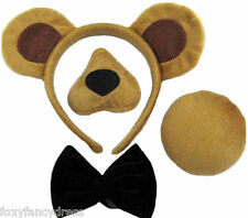 BEAR SET,EARS,NOSE & SOUND,TAIL,BOW TIE ANIMAL FANCY DRESS