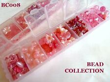 PRETTY BEAD COLLECTION IN STORAGE BOX - PINK BEADS.........................BC008