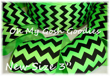 "3"" NEON LIME BLACK CHEVRON ZIG ZAG STRIPE HALLOWEEN GROSGRAIN RIBBON 4 HAIRBOW"