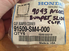 NOS HONDA 90-93 ACCORD FRONT BUMPER SLIDE CLIPS (QTY 5) PART# 91509-SM4-000