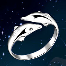 Elegant Women Fashion Silver Cute Double Dolphin Animal Open/Adjustable Rings