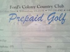 Fords Colony Country Club Williamsburg,VA Prepaid Golf Rounds