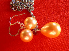 PENDENTIF + BO PERLES OR 12x16 mm..et 10mm. SOUTH SEA SHELL PEARLS