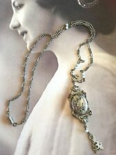 Vintage Victorian Revival Silver-Tone, White Bead Pendant Chain Locket Necklace
