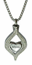 Diamond Mum Heart Urn Pendant Necklace Memorial Ash Keepsake Cremation Jewellery