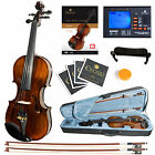Mendini Size 4/4 Violin Ebony Fitted 1pc Flamed Back +Tuner+Book/DVD ~4/4MV500
