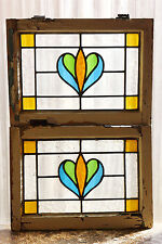 Pair of Antique Stained Glass Windows Three (3) color Art Nouveau Tulips  (3008)