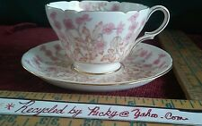 SHELLEY porcelain  Pink  HEDGEROW pattern Tea Cup teacup and Saucer