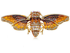 Vintage Gold Tone Rhinestone Moth Bug Insect Brooch Pin Fashion Jewelry Brooch