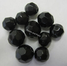 10 Black Glass Faceted Beads 12mm, 8mm Bead For Beading Jewellery Making TAR043