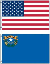 NEW 3'x5' NEVADA State Flag & AMERICAN Flag Polyester