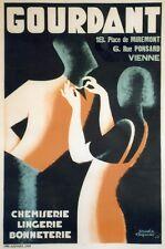 """""""CHEMISERIE GOURDANT"""" Affiche orig. entoilée Litho Doudou FRAPOTAT 1933 86x126cm"""