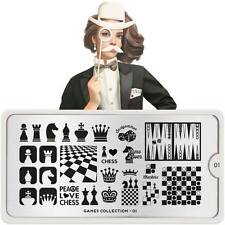 Moyou London Stamping Schablonen Schach Dame Würfel Spiele Games #01