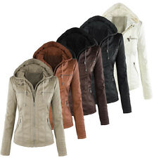 New Women 2in1 Detachable hood Bomber Jacket PU leather Biker jacket Coat UK4-18