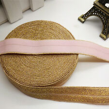 New 5 yards 15MM Gold thread Pink Multirole foldover elastic Spandex Satin Band