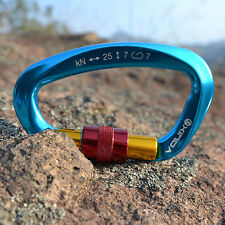 25KN Blue Rock Climbing Tree Arborist Spring Snap Screw Locking Carabiner Gear
