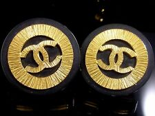 100% Authentic CHANEL Black Gold-Tone Coco Mark Motif Earrings Clip-On K628