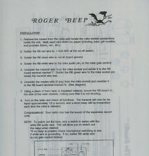 Rare Bandit Roger Beep Schematic Wiring Diagram Instructions Sheet CB Ham Radio