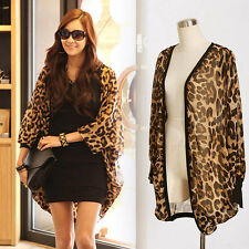 Trendy Women Leopard Print Batwing Blouse Chiffon Top Loose Shirts for Lady