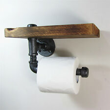 Industrial Style Iron Pipe Toilet Paper Holder Roller With Wood Shelf Bathroom
