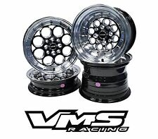 VMS RACING REVOLVER BLACK SILVER FRONT & REAR DRAG WHEELS SET 4X100/4X114 15x8