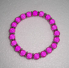 Hot Pink Miracle Bead Bracelet with Silver Spacers Fashion Jools Handmade