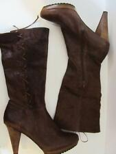 "ME TOO~Brown~Distressed Leather~18"" High Dress Boot~4.5"" Heel~Side Zip~Size 10M."