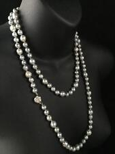 VINTAGE 14CT GOLD SILVER GREY BLUE GENUINE SOUTH SEA BAROQUE PEARL NECKLACE -561