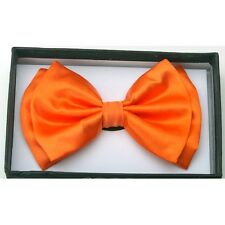 NEW RETRO ADJUSTABLE PRETIED TUXEDO WEDDING PARTY NECK BOW TIE ~ NEON ORANGE