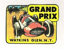 Watkins Glen Grand Prix Travel Sticker, Vintage Sports Car Racing Decal