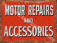 Motor Repairs and Accessories, 143 Vintage Old Car Garage, Large Metal/Tin Sign