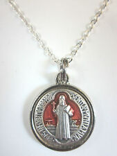 "Small St Benedict Jubilee Medal 5/8"" w/ Red Enamel Italy Necklace 20"" Chain"
