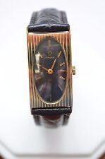 OMega 14K GOLD Watch Leather Strap - Rectangular  Black Dial