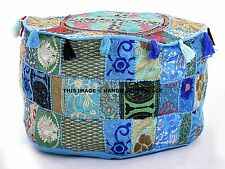 Bohemian Patchwork Pouf Ottoman Turquoise Vintage Indian Moroccan Chair Bean Bag
