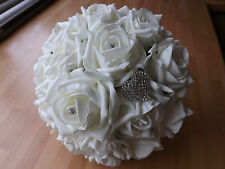 Wedding flowers Brides Maids Ivory foam roses bouquet with diamante