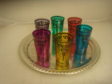Boxed set of 6 beautiful multicoloured Moroccan / Turkish tea glasses