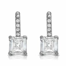 "Princess Cut 2carat CZ Dangle Post Earrings White Cubic Zirconia 15 mm, 0.6"" in"
